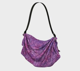 Neon purple and pink swirls doodles Origami Tote preview