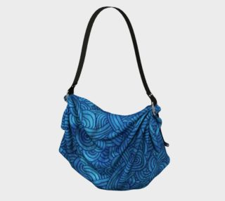 Turquoise blue swirls doodles Origami Tote preview