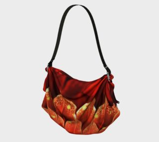 Origami Tote Bag with a Beautiful Ruby Red Dahlia Fractal Lotus Flower preview