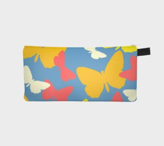 Yellow and Orange Butterflies on Blue Pencil Case preview
