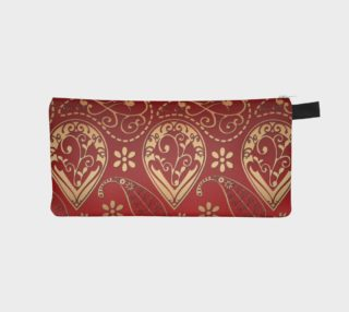 Aperçu de Persian Paisley with Red and Gold Tones Pencil Box Clutch, Purse, or Cosmetic Bag