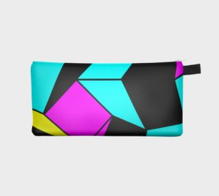 Turquoise Pink Black Geometric Pencil Bag preview