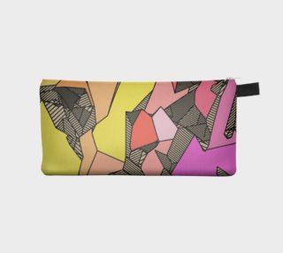 Pink Yellow Stripes Geometric Pencil Bag preview