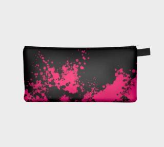 Florescent Pink Paint Splatter Pencil Bag  preview