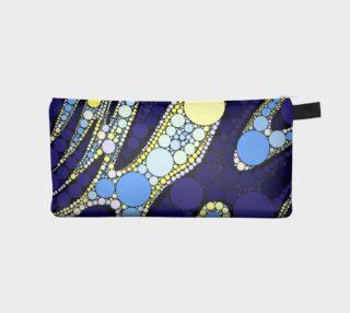 Aperçu de Blue Black Abstract Round Pattern Pencil Bag
