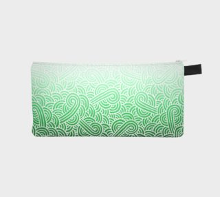 Ombre green and white swirls doodles Pencil Case preview