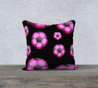 Pink and Black Soccer / Football Pillow Case 18x18 preview