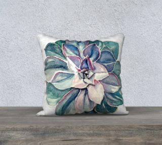 Aperçu de Watercolor Succulent Pillow (Cool Palette)