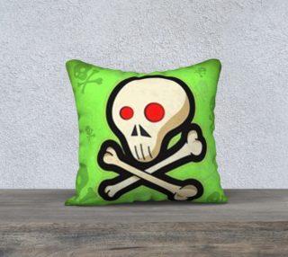 Cartoon Skull On Green 18 x 18 Pillow Case preview