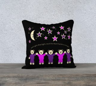 Purple and Pink Sleepy Bears Pillow Case 18 x 18 preview