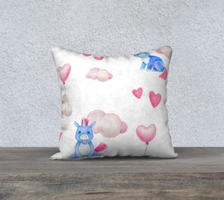 Aperçu de Whimsical Watercolor Unicorn Nursery Throw Pillowcase