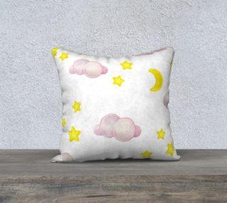 Aperçu de Moon & Stars Watercolor Throw Pillowcase
