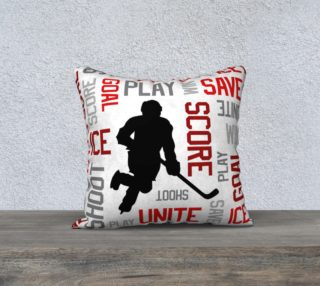 """For the Love of Hockey - Red Pillow Case - 18""""x18"""" preview"""