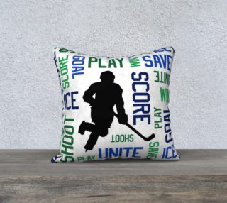 """For the Love of Hockey - Blue and Green Pillow Case - 18""""x18"""" preview"""