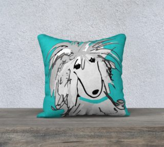 Pillow cover  - poodle Silver Sergio on Turquoise Pillow cover by Broussalian preview
