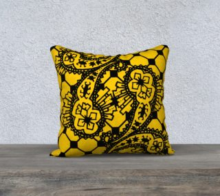 Yellow Grid Paisley Pattern Minton Black Yellow Tile Pattern Paisley Henna Art preview