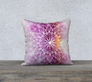 Aperçu de Fuscia Sacred Geometry Watercolor Pillow