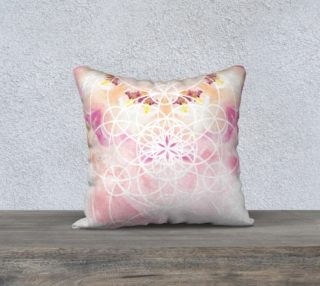 Aperçu de Vesica Piscis Pink Sacred Geometry Watercolor Pillow