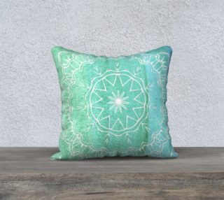 Aperçu de Teal Watercolor Mandala Pillow