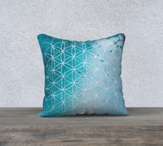Aperçu de Blue Watercolor Flower of Life Sacred Geometry Pillow