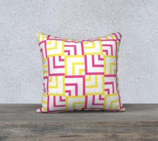 Pink and Yellow Squares 18x18 Pillow Case preview