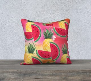 Aperçu de Watercolor Fruit Watermelon Pineapple Pear Cherry Pillow Case
