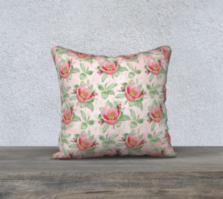 Aperçu de Bold Red Green Wild Rose Floral Pillow Case