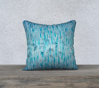 Blue Turquoise Silver Leafy Floral Pillow Case preview