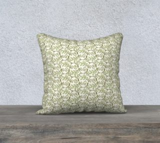 Aperçu de Green Cream Leafy Lace Floral Pillow Case