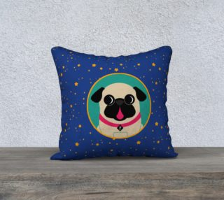 Aperçu de Pug In Teal Circle on Stars