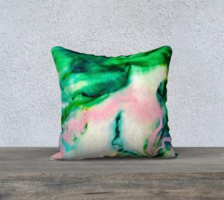 Aperçu de Green Pink Marble Abstract Painting Pillow 18