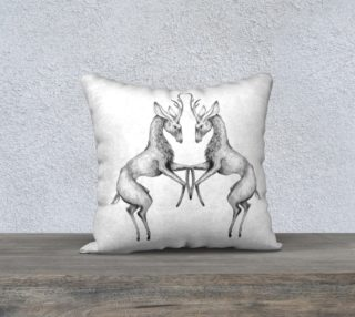 Twin Stag Sketch White Pillow 18x18 preview