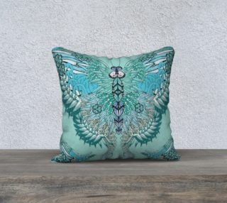 Green flamingo butterfly square cushion preview