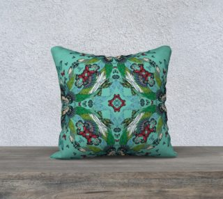 Green tower butterflies square cushion preview
