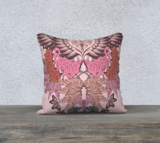 Pink flamingoes square cushion preview