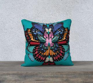 Rainbow butterflies square cushion preview