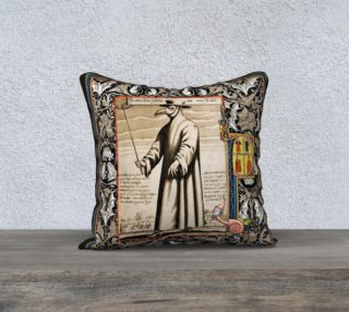 "Aperçu de P is for Plague Doctor - 18"" x 18"" Pillow"