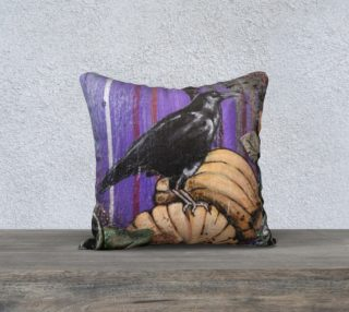 Aperçu de Pumpkin Patch Crow 18 X 18 Pillow Case