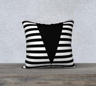 Aperçu de White Black Stripes Big Triangle pillow 18