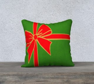 Red and Green Christmas Bow Pillow Cover preview