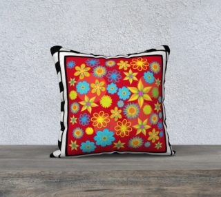 Flower Patch Red 18 x 18 pillow case preview