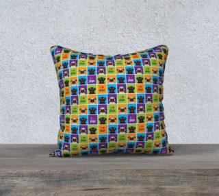 """Aperçu de I Love Pugs Color Squares 18"""" Pillow"""