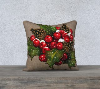 Christmas Holly on Burlap preview