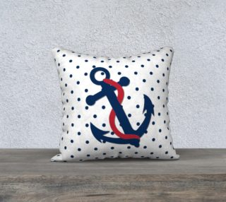 Aperçu de Anchor Pillow - Blue Anchor on Polka Dots