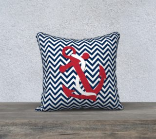 Aperçu de Anchor Pillow - Red Anchor on Blue and White Chevron