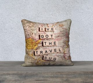 "Ive got the travel bug 18"" white back preview"