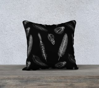 Feather Pattern Black Pillow preview