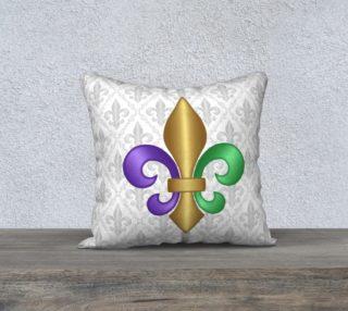 Purple Green Gold Fleur-de-Lis on Gray Pattern preview