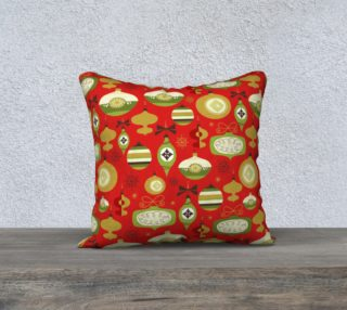 Red Christmas ornament pillow cover preview
