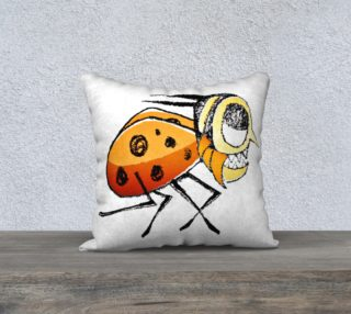 Funny Bug Running Hand Drawn Illustration Pillow preview
